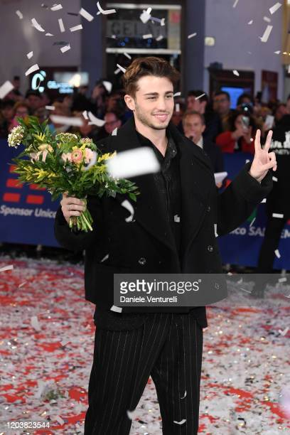 Riccardo Marcuzzo aka Riki attends the opening red carpet at the 70° Festival di Sanremo at Teatro Ariston on February 03 2020 in Sanremo Italy