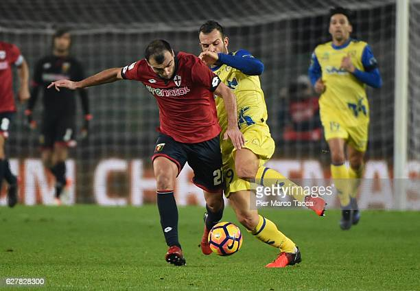 Riccardo Meggiorini of AC ChievoVerona competes for the ball with Goran Pandev of Genoa CFC during the Serie A match between AC ChievoVerona and...