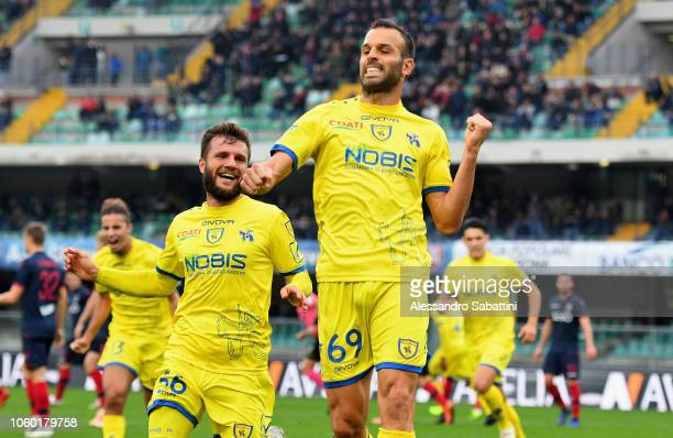 Riccardo Meggiorini of Chievo Verona celebrates after scoring the 11 goal during the Serie A match between Chievo Verona and Bologna FC at Stadio...