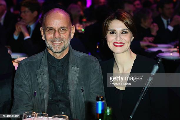 Riccardo Milani and Paola Cortellesi attend the 14th Afrodite Awards dinner gala at Studios on January 13 2016 in Rome Italy