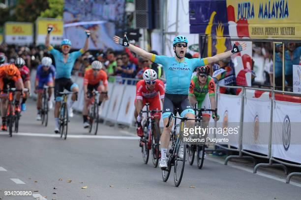 Riccardo Minali of Astana Pro Team Kazakhstan celebrates victory after winning Stage 2 of the Le Tour de Langkawi 2018, Gerik-Kota Bharu 208.3 km on...