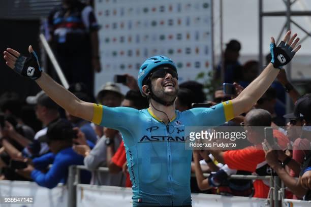 Riccardo Minali of Astana Pro Team Kazakhstan celebrates victory after winning Stage 4 of the Le Tour de Langkawi 2018 DungunPekan 1838 km on March...
