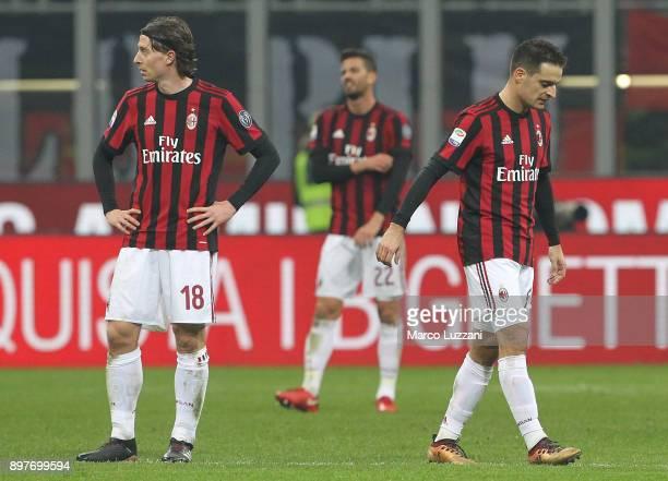 Riccardo Montolivo and Giacomo Bonaventura of AC Milan shows their dejection during the serie A match between AC Milan and Atalanta BC at Stadio...