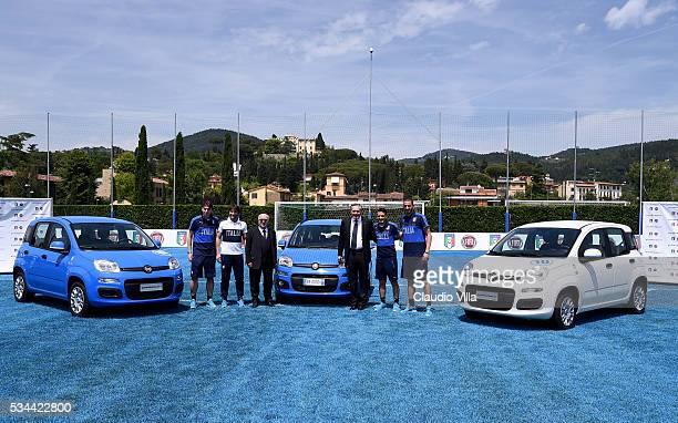 Riccardo Montolivo Head Coach Italy Antonio Conte President FIGC Carlo Tavecchio COO FCA Alfredo Altavilla Alessandro Florenzi and Leonardo Bonucci...