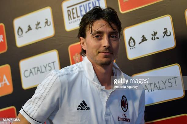 Riccardo Montolivo of AC Milan attends a press conference ahead of the 2017 International Champions Cup football match between AC Milan and Borussia...