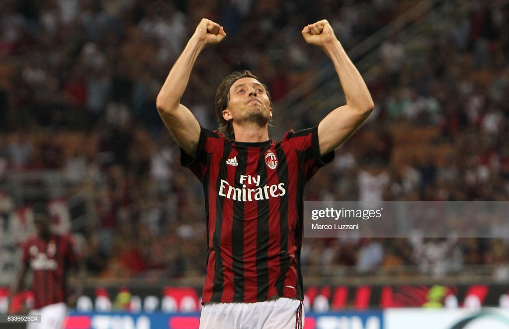 Riccardo Montolivo of AC Milan celebrates his second goal during the UEFA Europa League Qualifying Play-Offs round first leg match between AC Milan and KF Shkendija 79 at Stadio Giuseppe Meazza on August 17, 2017 in Milan, Italy.