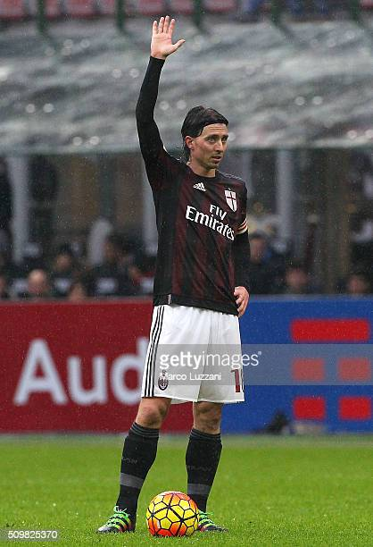 Riccardo Montolivo of AC Milan gestures during the Serie A match between AC Milan and Udinese Calcio at Stadio Giuseppe Meazza on February 7 2016 in...