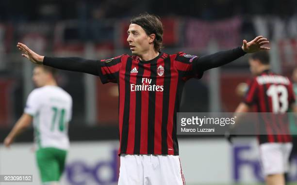 Riccardo Montolivo of AC Milan gestures during UEFA Europa League Round of 32 match between AC Milan and Ludogorets Razgrad at the San Siro on...