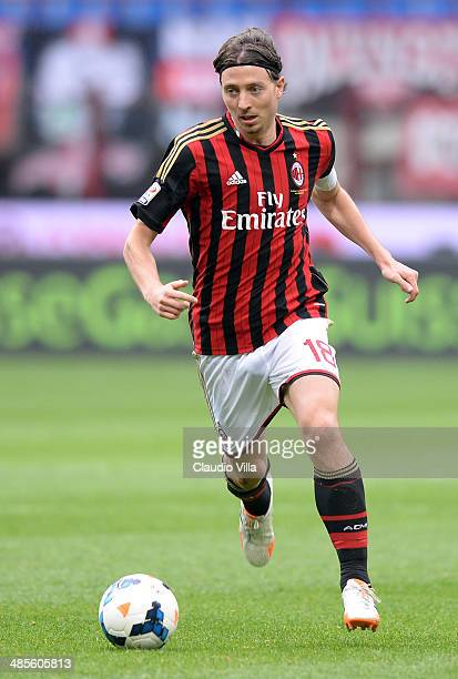 Riccardo Montolivo of AC Milan in action during the Serie A match between AC Milan and AS Livorno Calcio at San Siro Stadium on April 19 2014 in...