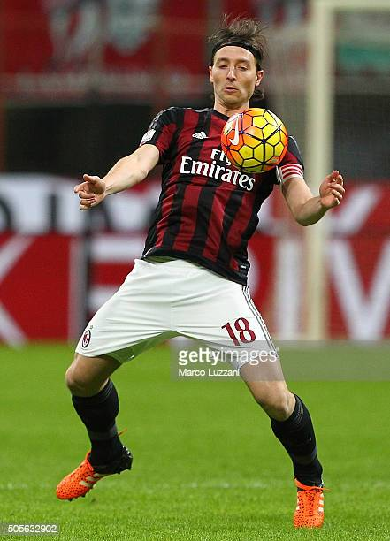 Riccardo Montolivo of AC Milan in action during the TIM Cup match between AC Milan and Carpi FC at Stadio Giuseppe Meazza on January 13 2016 in Milan...