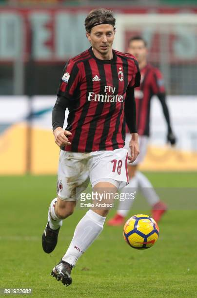 Riccardo Montolivo of AC Milan in action during the Tim Cup match between AC Milan and Hellas Verona FC at Stadio Giuseppe Meazza on December 13 2017...