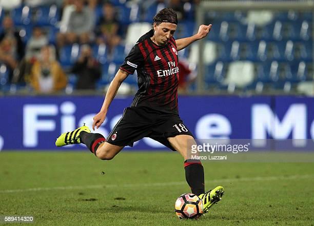 Riccardo Montolivo of AC Milan kicks a ball during the TIM Preseason Tournament at Mapei Stadium Citta' del Tricolore on August 10 2016 in Reggio...