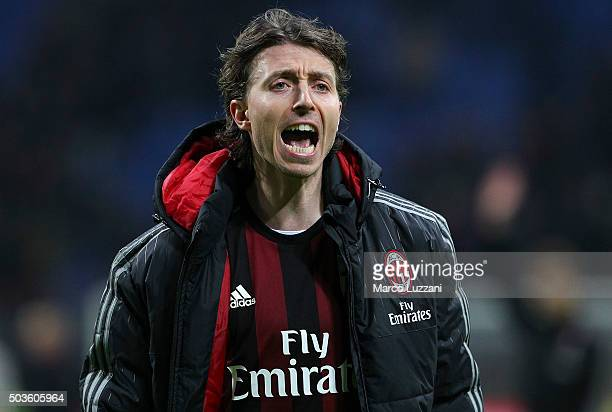 Riccardo Montolivo of AC Milan shouts at the end of the Serie A match between AC Milan and Bologna FC at Stadio Giuseppe Meazza on January 6 2016 in...
