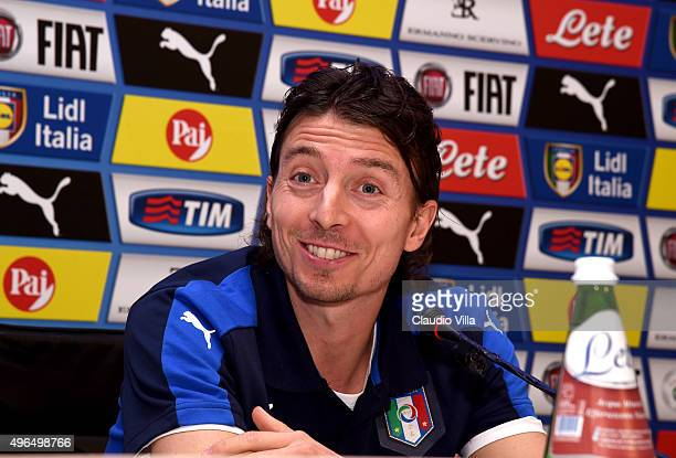 Riccardo Montolivo of Italy Antonio Conte speaks to the media during a press conference at Coverciano on November 10 2015 in Florence Italy