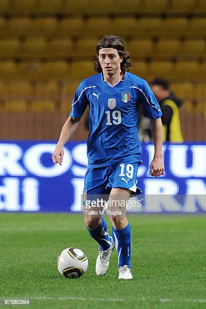 Riccardo Montolivo of Italy in action during the International Friendly match between Italy and Cameroon at Louis II Stadium on March 3 2010 in...