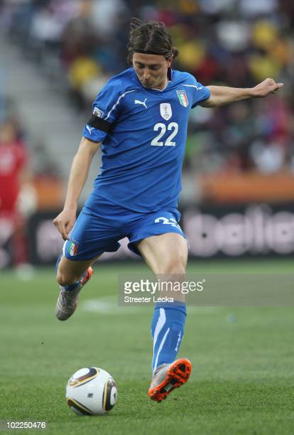 Riccardo Montolivo of Italy passes the ball during the 2010 FIFA World Cup South Africa Group F match between Italy and New Zealand at the Mbombela...