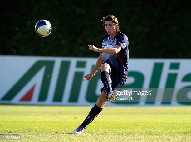 Riccardo Montolivo of Italy shoots the ball during Italy training session at Coverciano on October 4 2011 in Florence Italy