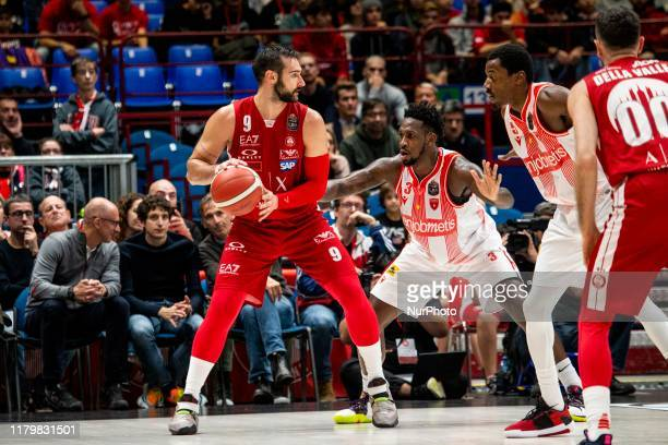 Riccardo Moraschini in action during the 2019/2020 italian basketball league LBA Regular Season Round 7 match between AX Armani Exchange Milan and...