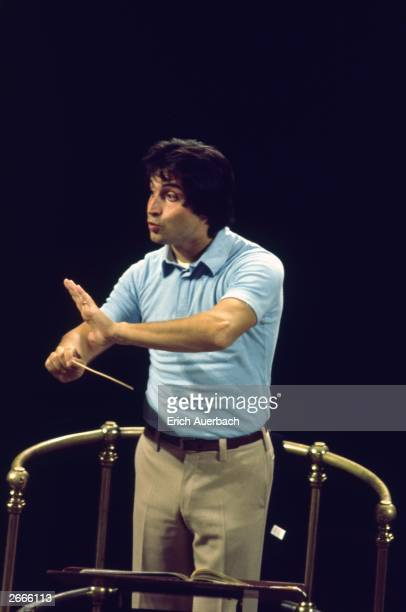 Riccardo Muti, principal conductor of the New Philharmonia Orchestra rehearsing in the Royal Albert Hall, London.