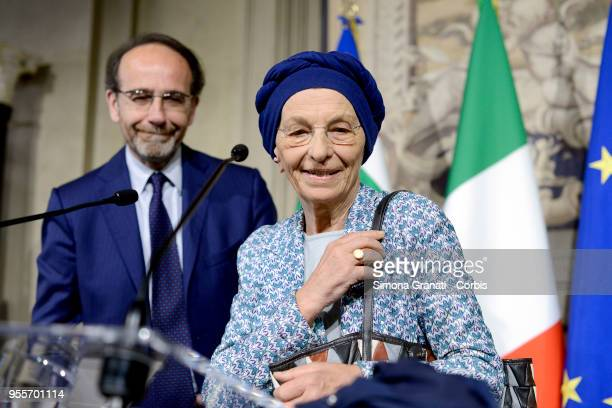 Riccardo Nencini and Emma Bonino at the end of the Consultations of the President of the Republic for the formation of the new Government on May 7...