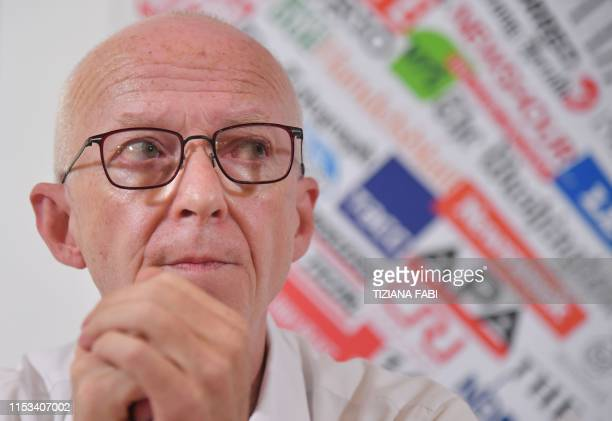 Riccardo Noury attends a joint press conference of humanitarian NGOs Sea Watch Doctors Without Borders Open Arms and Tavolo Asilo on July 3 2019 at...