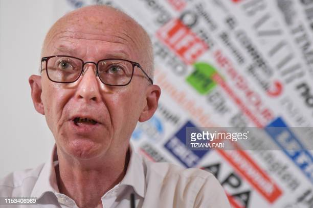 Riccardo Noury speaks during a joint press conference of humanitarian NGOs Sea Watch Doctors Without Borders Open Arms and Tavolo Asilo on July 3...