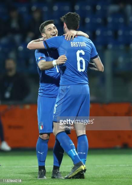 Riccardo Orsolini and Alessandro Bastoni of Italy celebrate during the UEFA friendly foootball match Italy U21 v Croatia U21 at the Benito Stirpe...