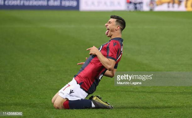 Riccardo Orsolini of Bologna celebrates after scoring his team's opening goal during the Serie A match between Bologna FC and Parma Calcio at Stadio...