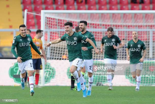 Riccardo Orsolini of Bologna celebrates after scoring the opening goal during the Serie A match between US Lecce and Bologna FC at Stadio Via del...