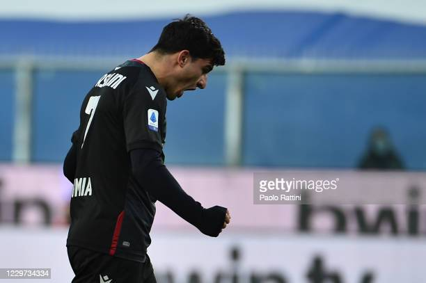 Riccardo Orsolini of Bologna FC celebrates after scoring 11 during the Serie A match between UC Sampdoria and Bologna FC at Stadio Luigi Ferraris on...