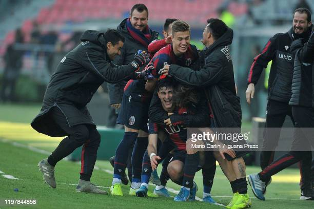 Riccardo Orsolini of Bologna FC celebrates after scoring a gaol during the Serie A match between Bologna FC and ACF Fiorentina at Stadio Renato...