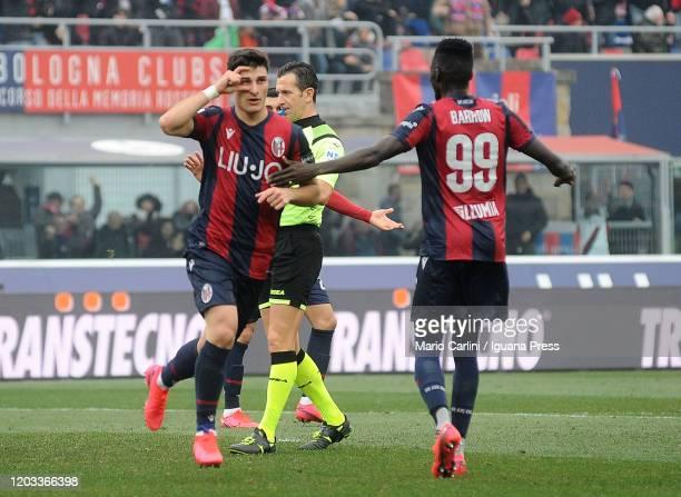 Riccardo Orsolini of Bologna FC celebrates after scoring a goal during the Serie A match between Bologna FC and Brescia Calcio at Stadio Renato...