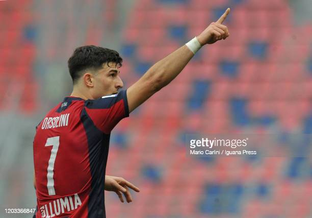 Riccardo Orsolini of Bologna FC celebrates after scoring a goal during the Serie A match between Bologna FC and Brescia Calcio at Stadio Renato...