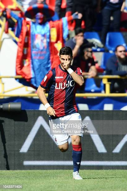 Riccardo Orsolini of Bologna FC celebrates after scoring his team's second goal during the Serie A match between Bologna FC and Udinese at Stadio...