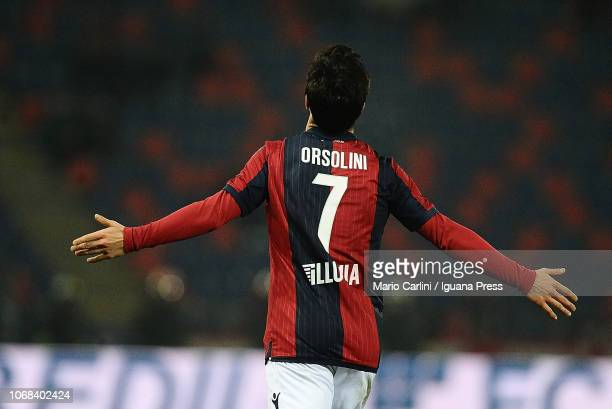 Riccardo Orsolini of Bologna FC celebrates after scoring his team's third and second personal goal during the Coppa Italia match between Bologna FC...