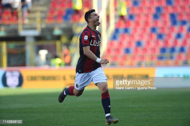 Riccardo Orsolini of Bologna FC celebrates after scoring his team's third goal during the Serie A match between Bologna FC and UC Sampdoria at Stadio...