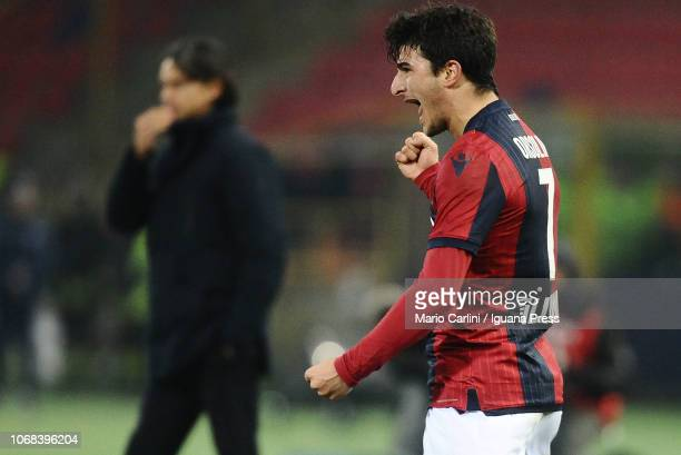 Riccardo Orsolini of Bologna FC celebrates after scoring the opening goal during the Coppa Italia match between Bologna FC and Crotone FC at Stadio...