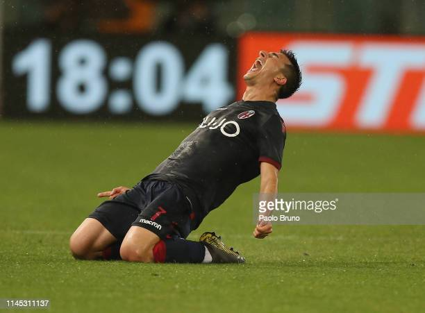 Riccardo Orsolini of Bologna FC celebrates after scoring the team's third goal during the Serie A match between SS Lazio and Bologna FC at Stadio...