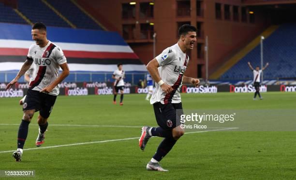 Riccardo Orsolini of Bologna FC celebrates goal during the Serie A match between UC Sampdoria and Bologna FC at Stadio Luigi Ferraris on June 28 2020...