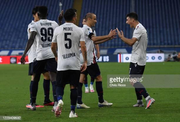 Riccardo Orsolini of Bologna FC celebrates goal with teammate Rodrigo Palacio of Bologna FC during the Serie A match between UC Sampdoria and Bologna...