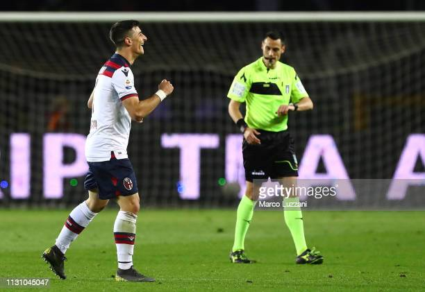 Riccardo Orsolini of Bologna FC celebrates his goal during the Serie A match between Torino FC and Bologna FC at Stadio Olimpico di Torino on March...