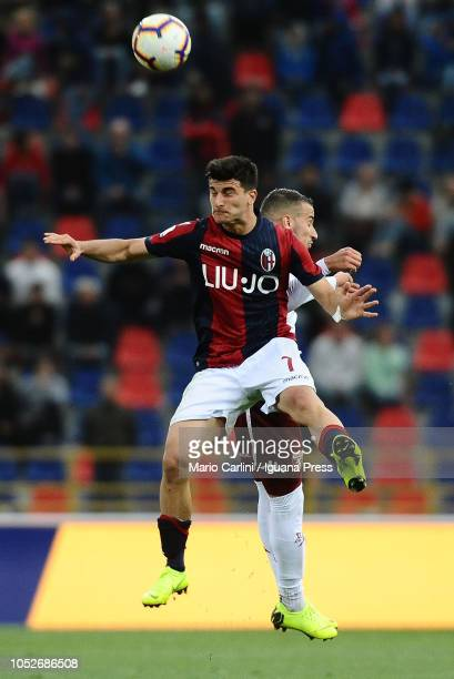Riccardo Orsolini of Bologna FC heads the ball during the Serie A match between Bologna FC and Torino FC at Stadio Renato Dall'Ara on October 21 2018...