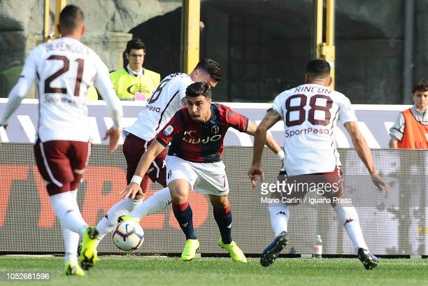 Riccardo Orsolini of Bologna FC in action during the Serie A match between Bologna FC and Torino FC at Stadio Renato Dall'Ara on October 21 2018 in...