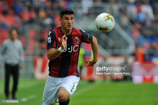 Riccardo Orsolini of Bologna FC in action during the Serie A match between Bologna FC and AS Roma at Stadio Renato Dall'Ara on September 22 2019 in...
