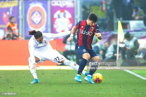Riccardo Orsolini of Bologna FC in action during the Serie A match between Bologna FC and ACF Fiorentina at Stadio Renato Dall'Ara on January 06 2020...