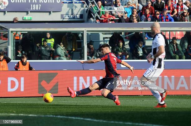 Riccardo Orsolini of Bologna FC in action during the Serie A match between Bologna FC and Udinese Calcio at Stadio Renato Dall'Ara on February 22...