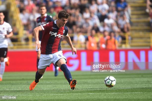 Riccardo Orsolini of Bologna FC in action during the serie A match between Bologna FC and AC Milan at Stadio Renato Dall'Ara on April 29 2018 in...