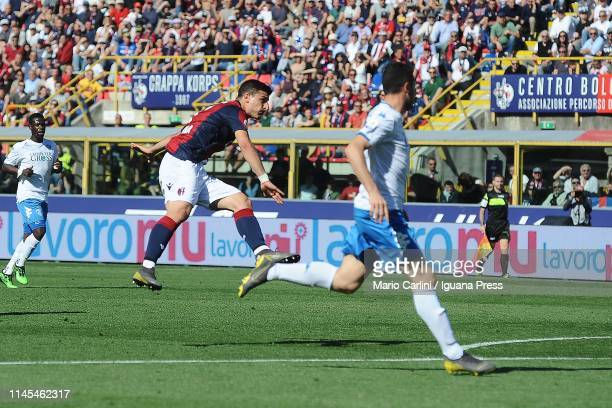 Riccardo Orsolini of Bologna FC scores his team's second goal during the Serie A match between Bologna FC and Empoli at Stadio Renato Dall'Ara on...