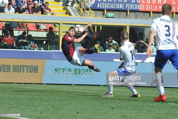 Riccardo Orsolini of Bologna FC scores his team's third goal during the Serie A match between Bologna FC and UC Sampdoria at Stadio Renato Dall'Ara...