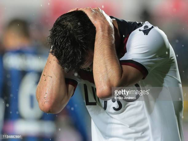 Riccardo Orsolini of Bologna FC shows his dejection during the Serie A match between Atalanta BC and Bologna FC at Stadio Atleti Azzurri d'Italia on...